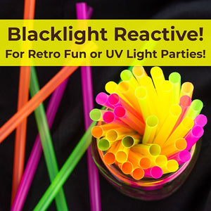 Blacklight Neon Drinking Straws 600 Pack in 4 Bright Colors for Retro Party Time or Kids Birthday. Each BPA-Free Straight Straw is Individually Wrapped in a Paper Wrapper. Great for Craft Projects!
