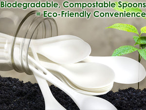 Biodegradable Spoons Made From Non-GMO Plant-Based Plastic 100 Pack. Sturdy Utensils are Certified Compostable, Disposable, Eco-Friendly Cutlery With No Wood Taste. Safe for Hot and Cold Foods!