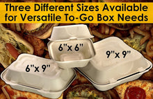 Biodegradable 6x6 Take Out Food Containers with Clamshell Hinged Lid 100 Pack. Microwaveable, Disposable Takeout Box to Carry Meals ToGo. Great for Restaurant Carryout or Party Take Home Boxes