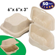 Biodegradable 6x6 Take Out Food Containers with Clamshell Hinged Lid 50 Pack. Microwaveable, Disposable Takeout Box to Carry Meals ToGo. Great for Restaurant Carryout or Party Take Home Boxes