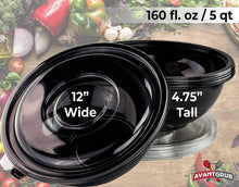 Avant Grub Catering-Grade Big Disposable Serving Bowls & Lids 4 Pack, 160oz