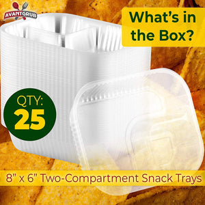 Anti-Spill Plastic Nacho Trays 50 Pk. Disposable 2 Compartment Boats Great for Dips, Snacks and Fair Foods. Large 6x8 Inch Portable Chip Holders for School Carnivals, Parties and Concession Stands