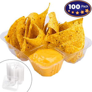 Anti-Spill Plastic Nacho Tray 100 Pack by Avant Grub. Disposable 2 Compartment Holder For Chips and Cheese Sauce Or Other Dips. For Carnivals, School Fairs, Church Festivals, Kids Parties and More.