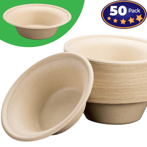 Biodegradable, Plant-Based, Tree Free, Disposable Bowls 100 Pack. Sturdy, Gluten Free Wheatstraw Fiber is Certified Compostable, Eco-Friendly, Microwavable and Safe for Hot and Cold Foods