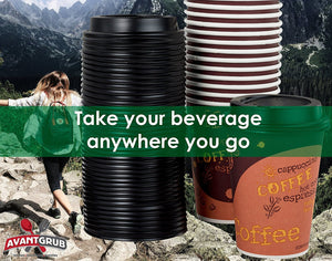Restaurant Grade 12 Oz Paper Coffee Cups With Recyclable Dome Lids. 100 Pack By Avant Grub. Durable, BPA Free Disposable Designer Cups For Hot Drinks At Kiosks, Shops, Cafes, and Concession Stands