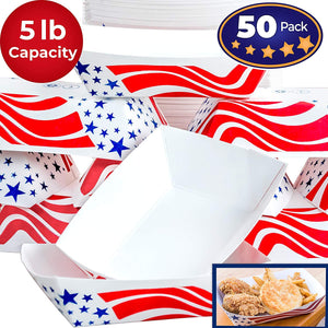 Heavy Duty, Grease Resistant 5 Lb US Flag Paper Food Tray 50 Pack. Recyclable, Coated Paperboard Basket for Carnivals, Concession Stands and Fairs Serving Hot Dogs, Popcorn and Nachos. Made In The USA