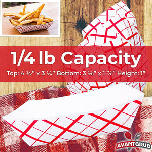 Heavy Duty, Grease Resistant .25 Lb Paper Food Trays 200 Pack. Recyclable, Coated Paperboard Basket Ideal for Festival, Carnival and Concession Stand Treats Like Fries, Ice Cream and Chicken Tenders