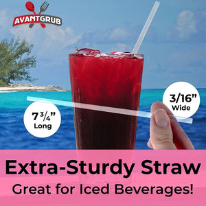 Extra Long BPA-Free Cocktail Straws 100 Pack. Each Clear, Disposable, Straight Straw is Individually Wrapped. Strong, Slim 8in Size Makes a Great Drink Sipper or Swizzle Stirrer for Mixed Drinks!