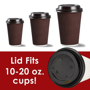 Premium, Recyclable Black Dome Lid 100 Pack By Avant Grub. One Size Fits All Travel Lid For 10, 12, 16 and 20 oz To Go Drink Cups. Includes Hot Contents Warning. For Cafes and Take Out Coffee Shops.