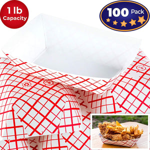Heavy Duty, Grease Resistant 1 Lb Paper Food Trays 100 Pack. Recyclable, Coated Paperboard Basket Ideal for Festival, Carnival and Concession Stand Treats Like Fries, Ice Cream and Chicken Tenders