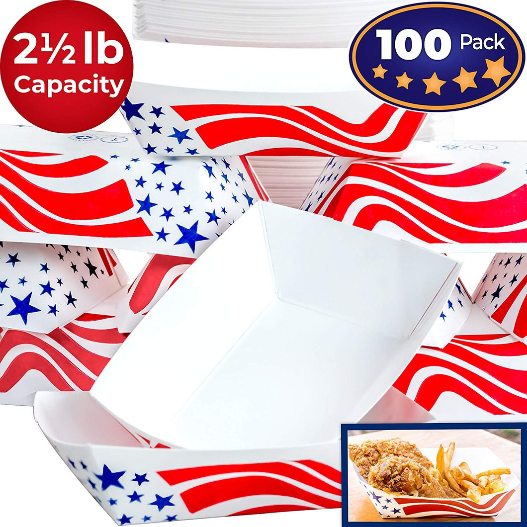 Heavy Duty, Grease Resistant 2.5 Lb US Flag Paper Food Tray 100 Pack. Recyclable Coated Paperboard Basket for Carnivals, Concession Stands or Fairs. Serve Hot Dogs, Popcorn and Nachos. Made In The USA