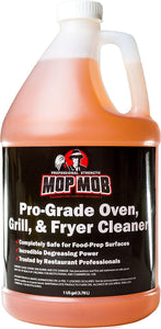 Mop Mob's Pro-Grade Grill Cleaner 1 Gallon. Food-Safe Ultra-Strong Eliminates Baked-On Grease & Carbon. Use Cleaning Liquid on Ovens, Cast Iron Cooktops, Stainless Steel Flat Tops & Deep Fryers