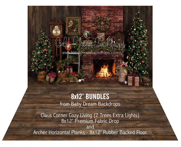 Claus Corner Cozy Living (2 Trees Extra Lights) and Archer Horizontal Planks