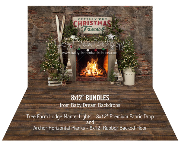 Tree Farm Lodge Mantel Lights and Archer Horizontal Planks