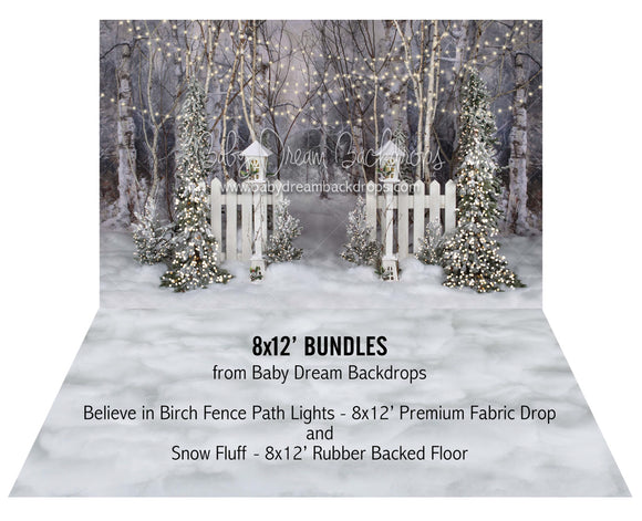 Believe in Birch Fence Path Lights and Snow Fluff