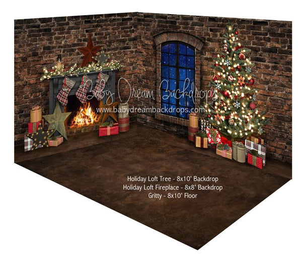 Holiday Loft Tree and Holiday Loft Fireplace Room