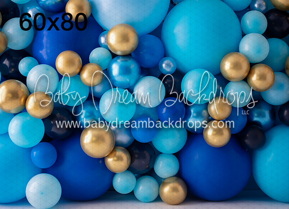 Balloon Wall Blue Gold