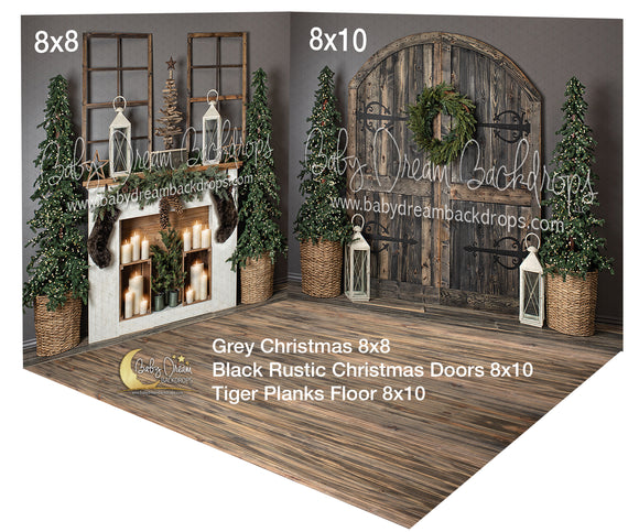 Black Rustic Grey Christmas Room
