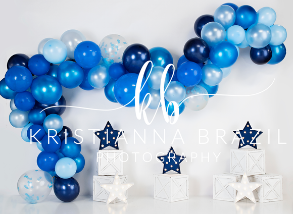 Blue Balloon Garland with Stars