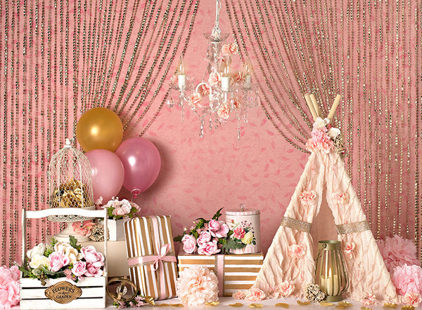Blush Crush with Balloons - 60Hx80W -BS