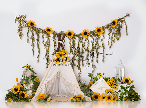 Boho Teepee Sunflowers no one