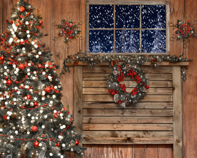 Christmas Country Cabin Headboard 8x10 - BD fleece