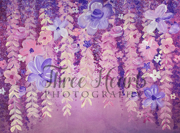 Cascading Wisteria and Blooms 60hx80w DW