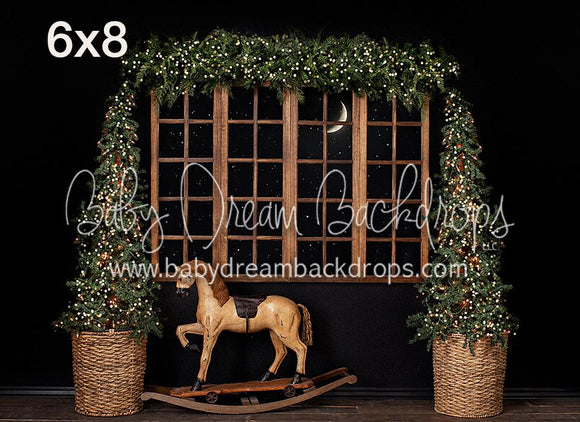 RTS 6x8 Christmas View with a Rocking Horse