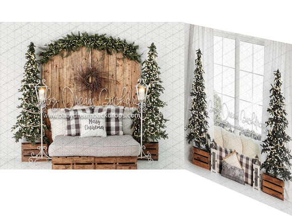 Golden Christmas Dreams Headboard and Window with Lights