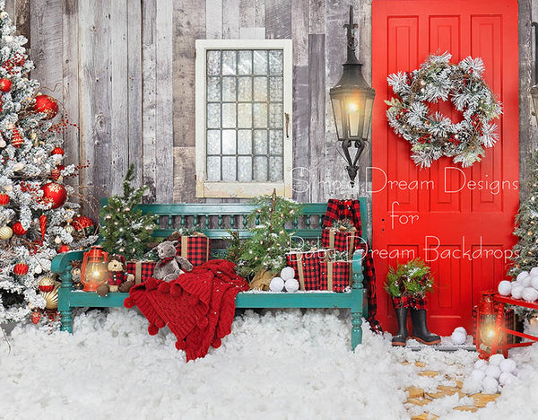 Home For Christmas Bench LEFT 8x10 - SD