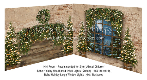 Boho Holiday Headboard Trees Lights Queen and Large Window Lights