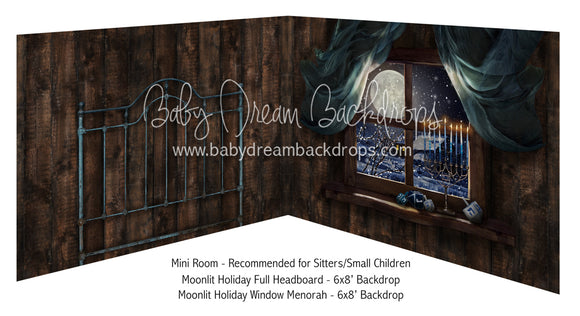 Moonlit Holiday Full Headboard and Moonlit Holiday Window Menorah