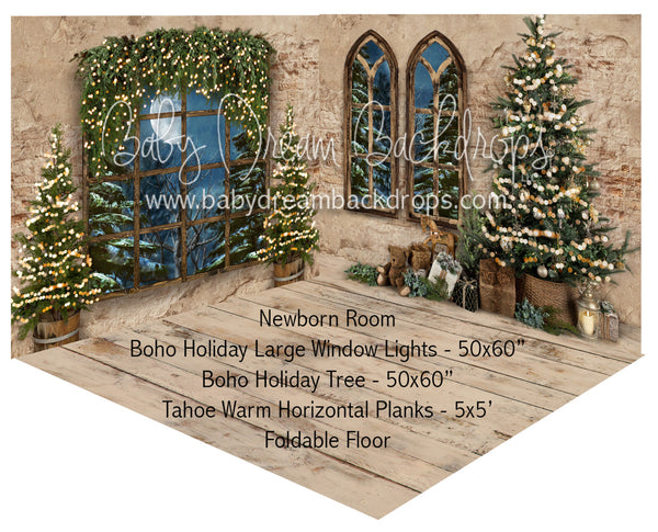 Boho Holiday Large Window Lights and Tree Newborn Room