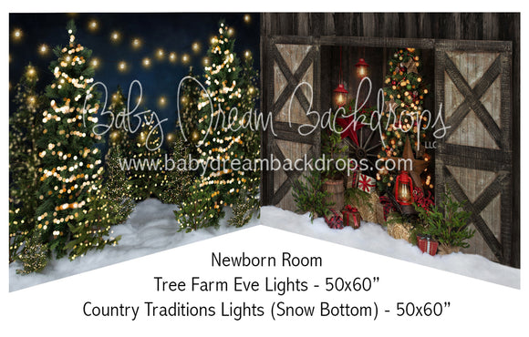 Tree Farm Eve Lights and Country Traditions Lights Snow Bottom Newborn Bundle