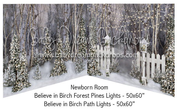 Believe in Birch Forest Pines Lights and Fence Path Lights Newborn Bundle