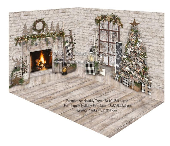 Farmhouse Holiday Tree and Farmhouse Holiday Fireplace Room