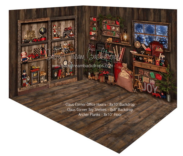 Claus Corner Office Hours and Claus Corner Toy Shelves Room