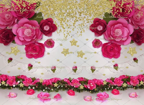Pink Petals and stars 60hx80w JM