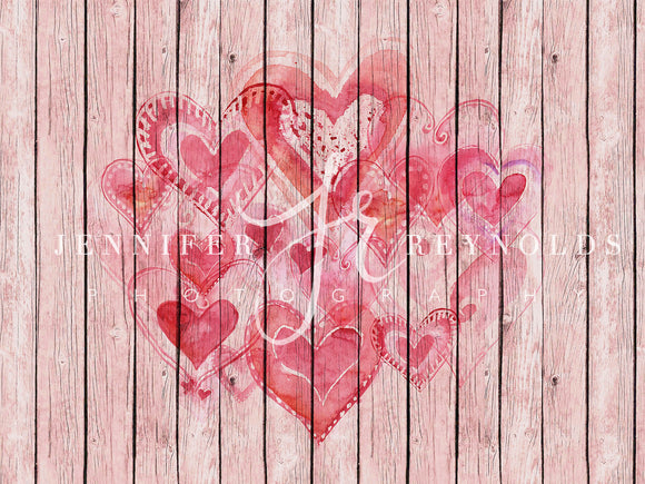 Pink Wood Panels with Hearts