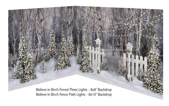 Believe in Birch Forest Pines Lights and Believe in Birch Fence Path Lights