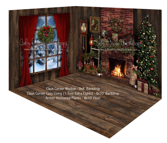 Claus Corner Window and Cozy Living (1 Tree Extra Lights) Room