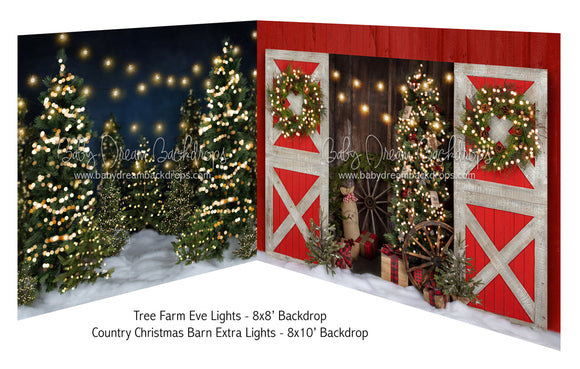 Tree Farm Eve Lights and Country Christmas Barn Extra Lights
