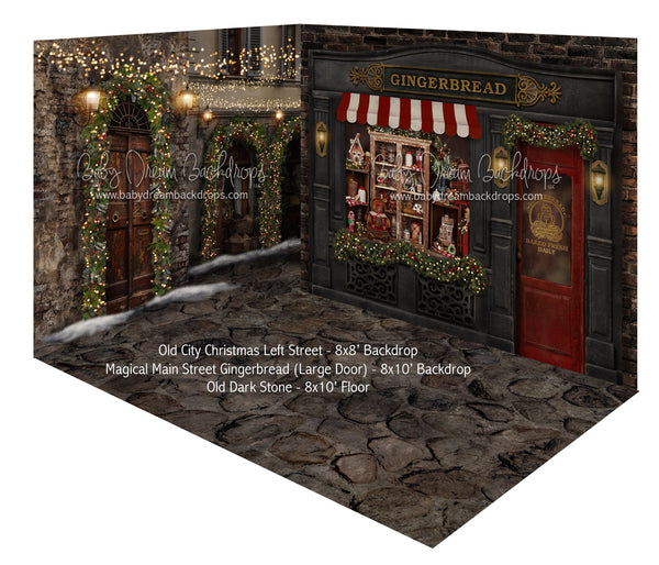 Magical Main Street Gingerbread (Large Door) and Old City Christmas Left Street Room