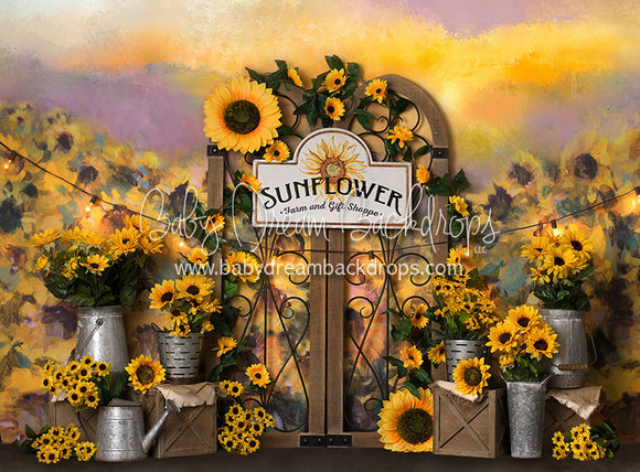 Sunflower Gates with Sign - 60Hx80W - BS (Matte Fleece)
