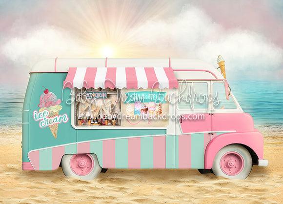 Treats on the Beach - 5x7 Backdrop - CC (Matte Fleece)
