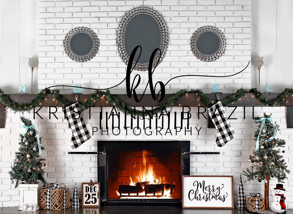 Turquoise Christmas Fireplace