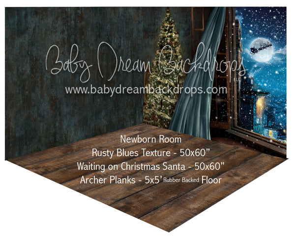 Rusty Blues Texture and Waiting on Christmas Santa Newborn Room