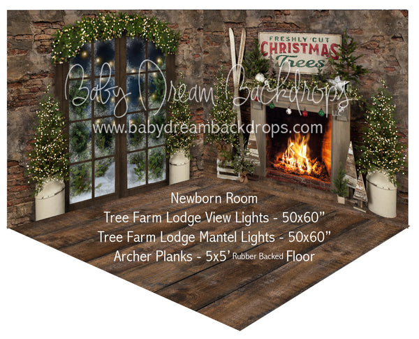 Tree Farm Lodge View Lights and Mantel Lights Newborn Room