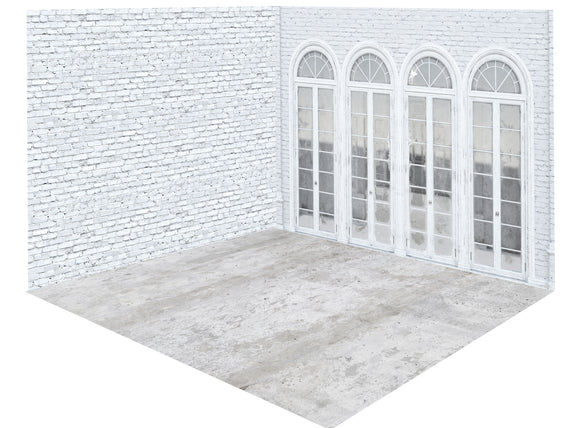 White Botanical Garden Room (8x10 Botanical Garden Doors, 8x8 Botanical Garden White Brick, and 8x10 Botanical Garden Concrete Floor)