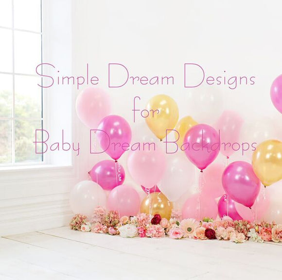 Balloon Room pink and gold 8x8 window